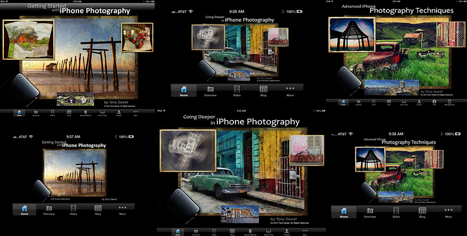 Tony Sweet - collage of iPhone and iPad Home Screens