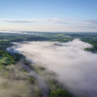 Mohawk Valley fog in the early morning - Little Falls overlook
