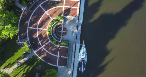 Overhead view of Rotary Park in Little Falls